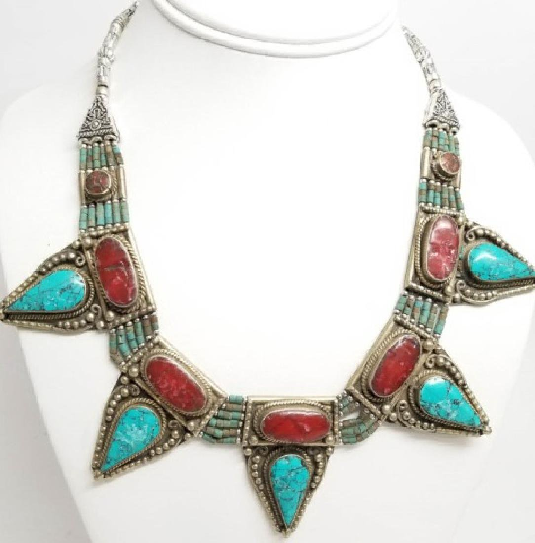 Tibetan Style Inlaid Turquoise Coral Necklace