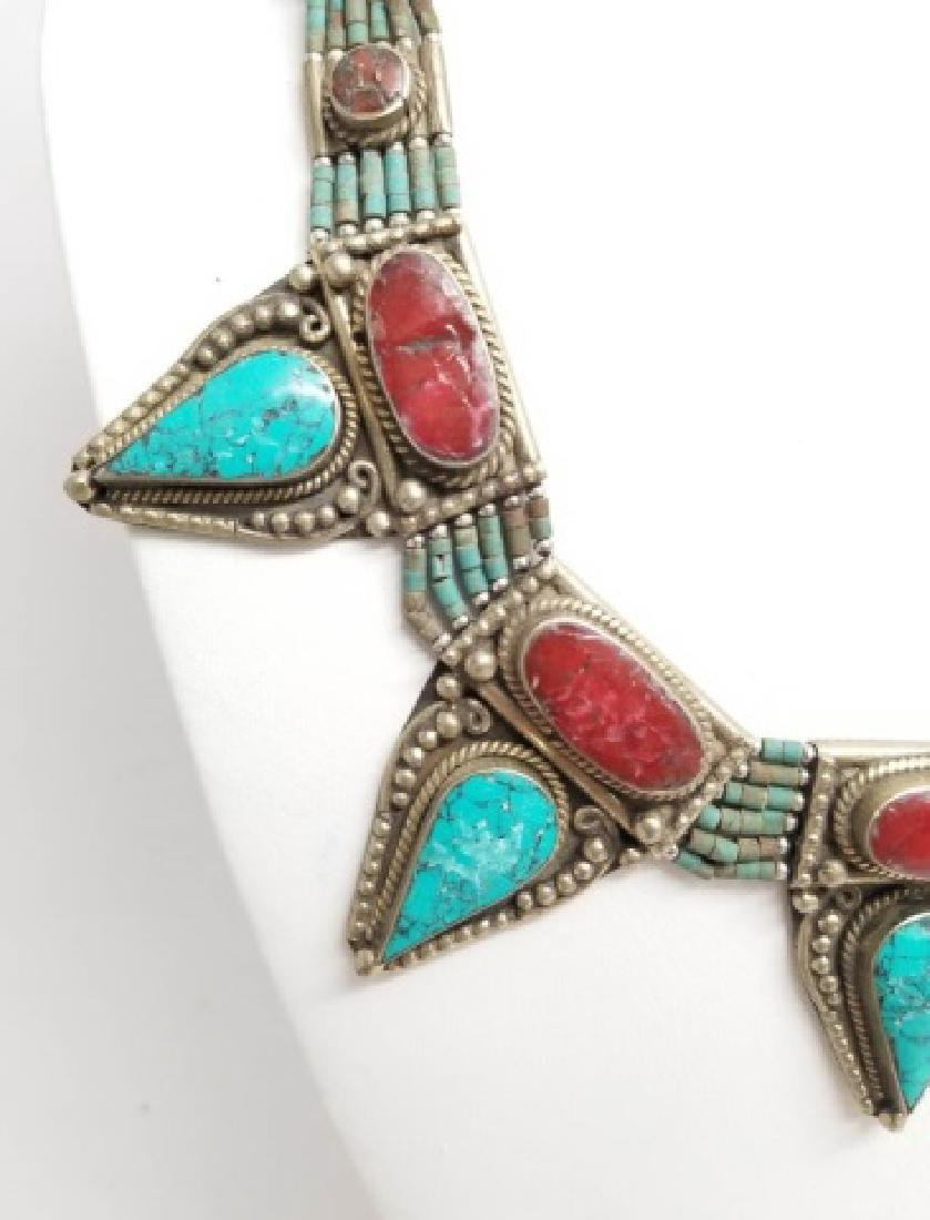 Tibetan Style Inlaid Turquoise Coral Necklace - 3