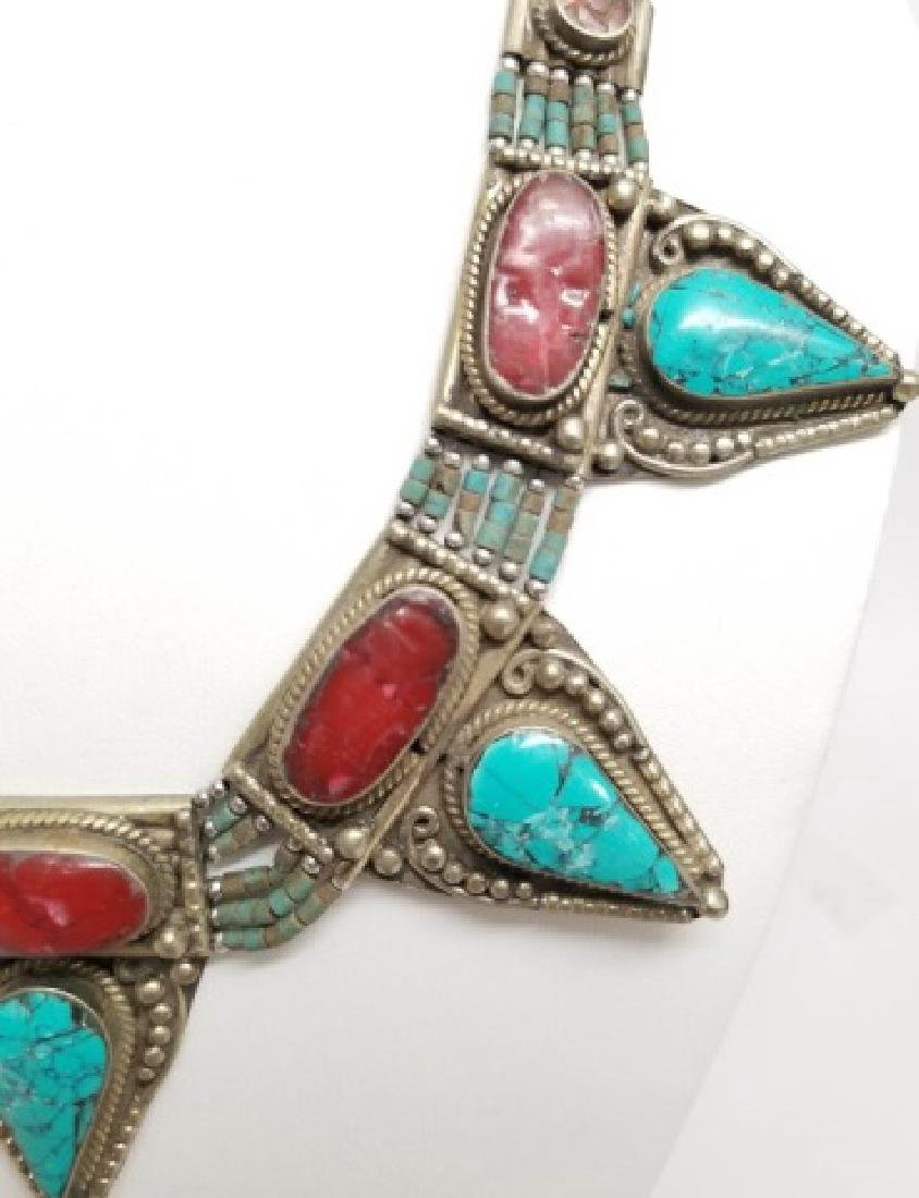 Tibetan Style Inlaid Turquoise Coral Necklace - 4