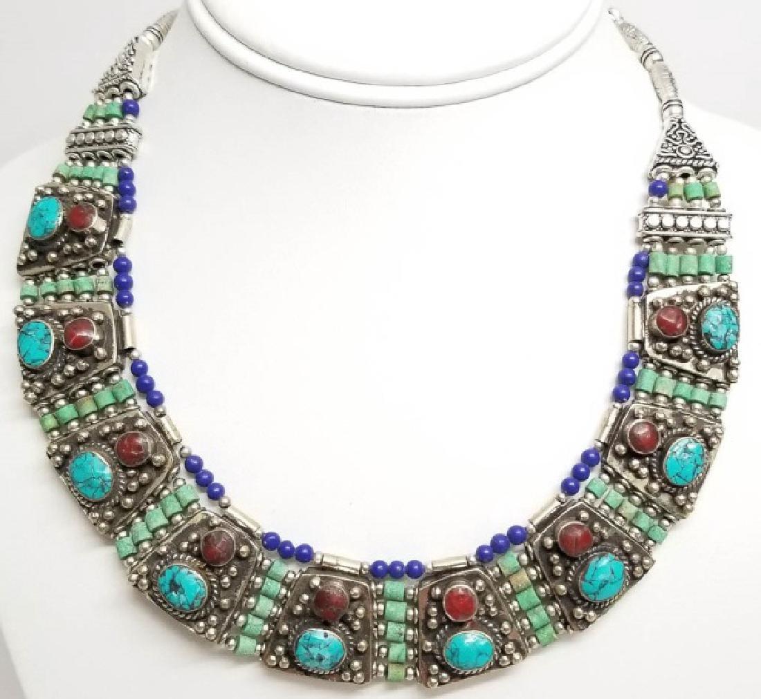Tibetan Style Inlaid Turquoise Panel Necklace