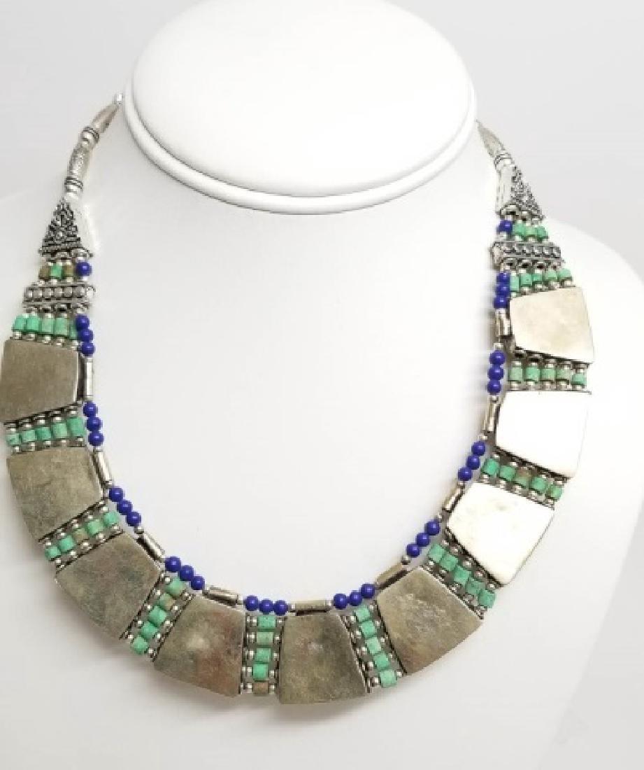 Tibetan Style Inlaid Turquoise Panel Necklace - 2