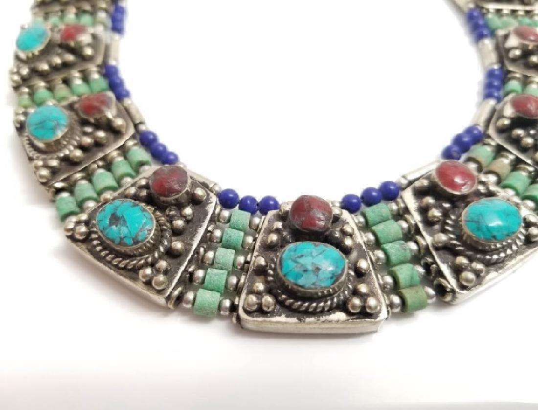 Tibetan Style Inlaid Turquoise Panel Necklace - 3