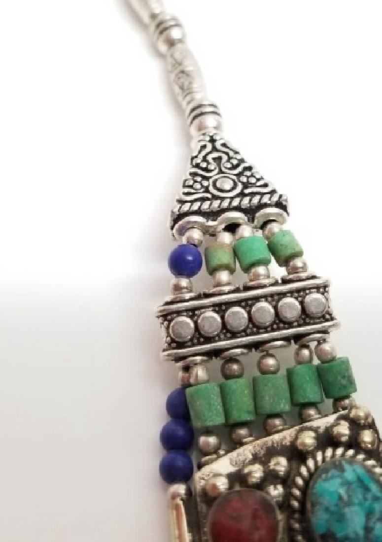 Tibetan Style Inlaid Turquoise Panel Necklace - 4