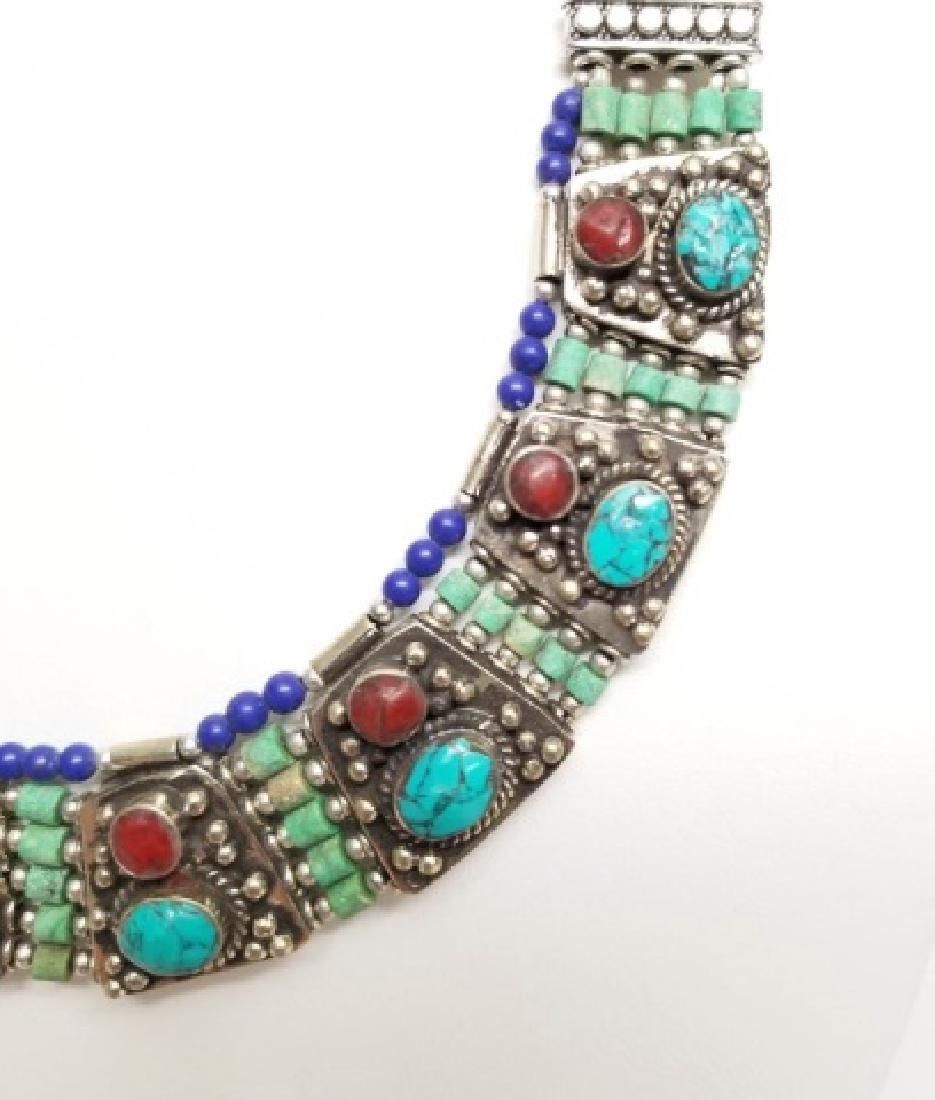 Tibetan Style Inlaid Turquoise Panel Necklace - 5