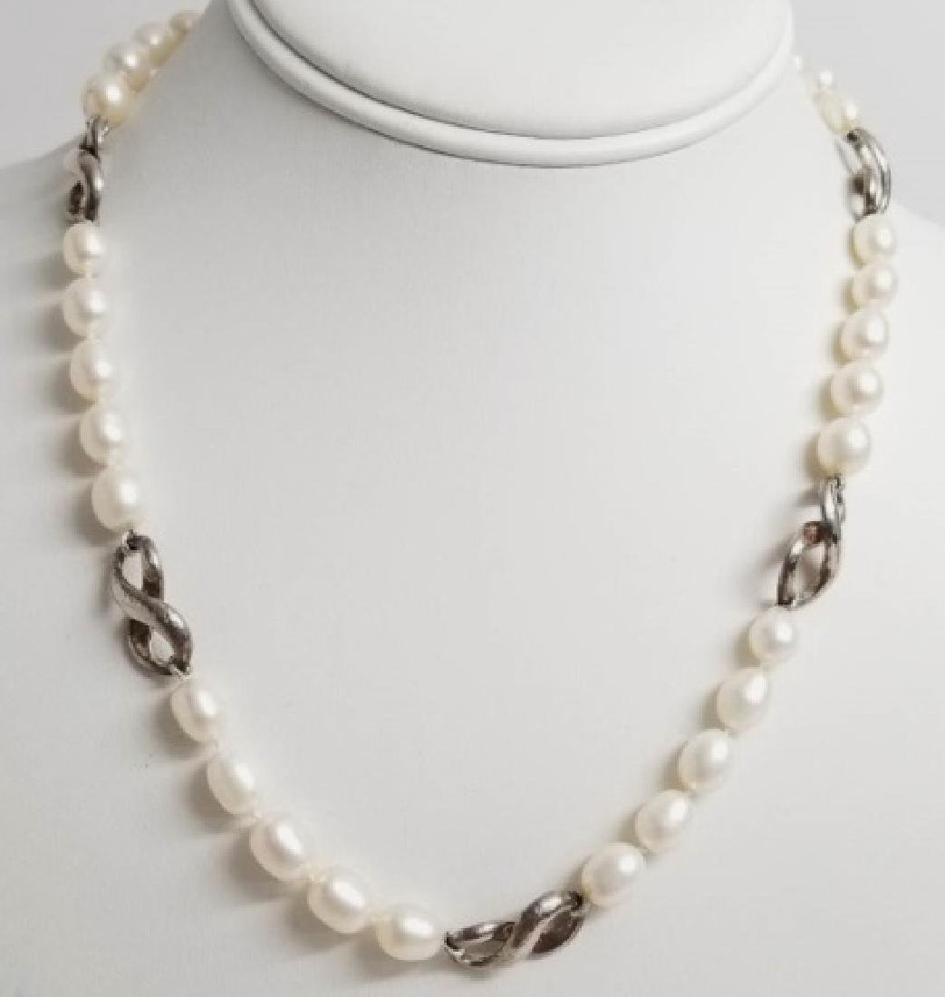 Sterling Silver & Baroque Pearl Necklace Strand