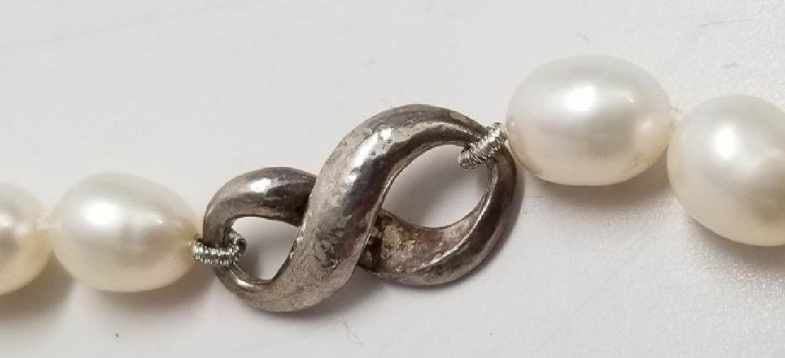 Sterling Silver & Baroque Pearl Necklace Strand - 3