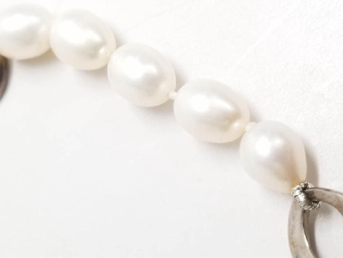 Sterling Silver & Baroque Pearl Necklace Strand - 4