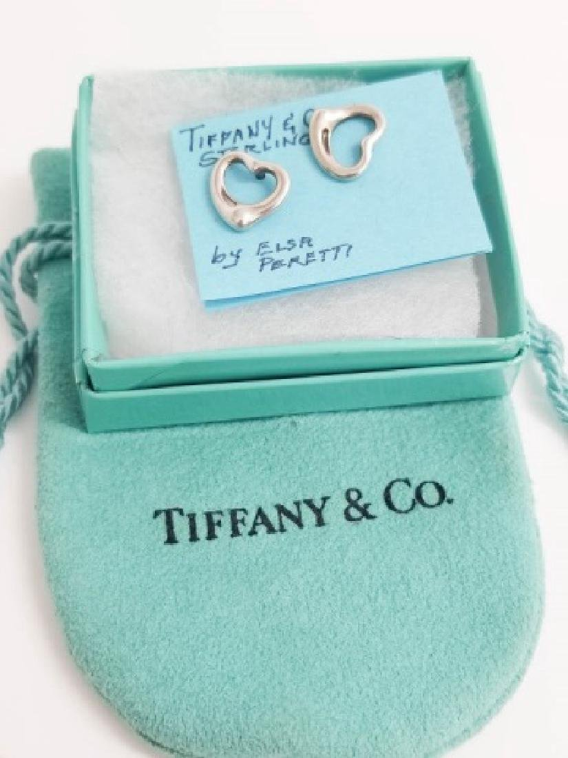 Tiffany & Co Sterling Elsa Peretti Heart Earrings