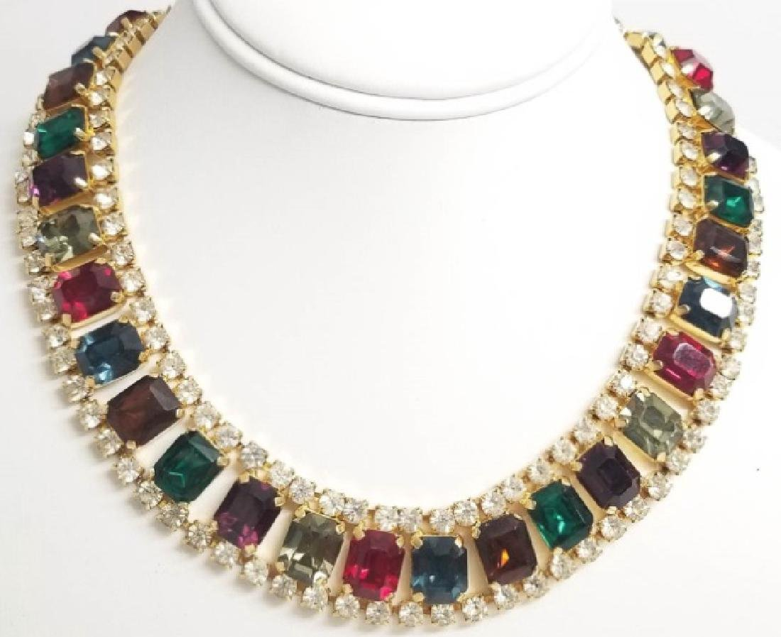 Vintage Costume Jewelry Rhinestone Necklace Collar