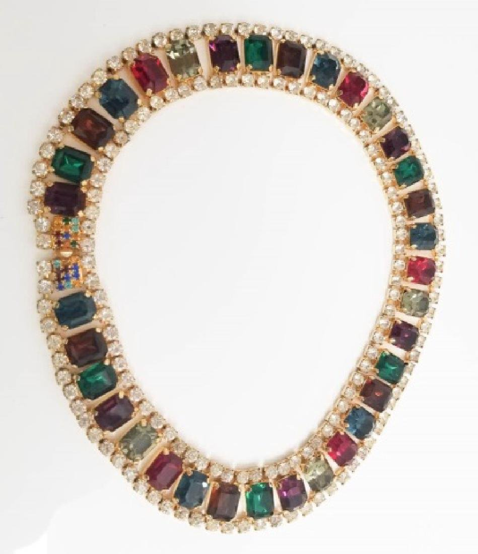Vintage Costume Jewelry Rhinestone Necklace Collar - 4