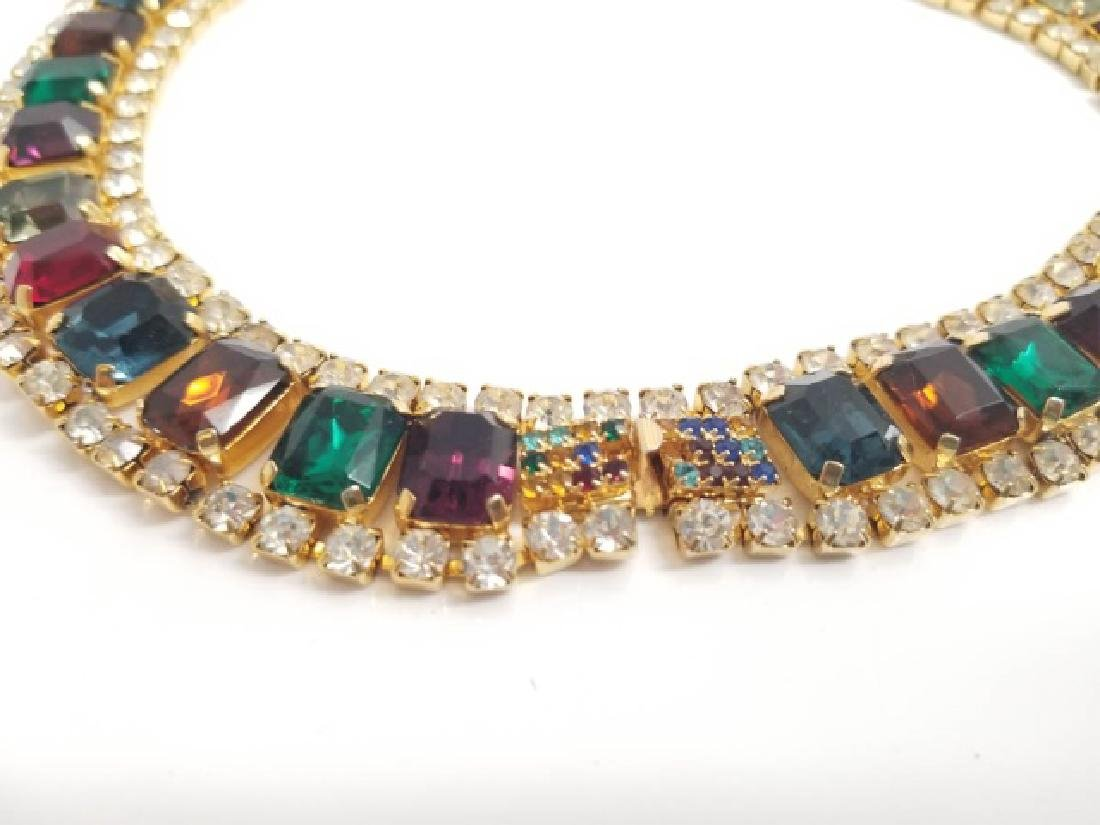 Vintage Costume Jewelry Rhinestone Necklace Collar - 5