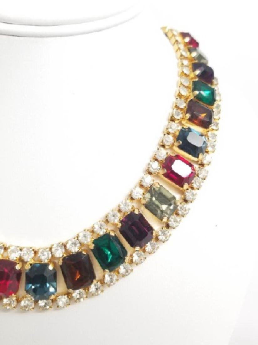 Vintage Costume Jewelry Rhinestone Necklace Collar - 6