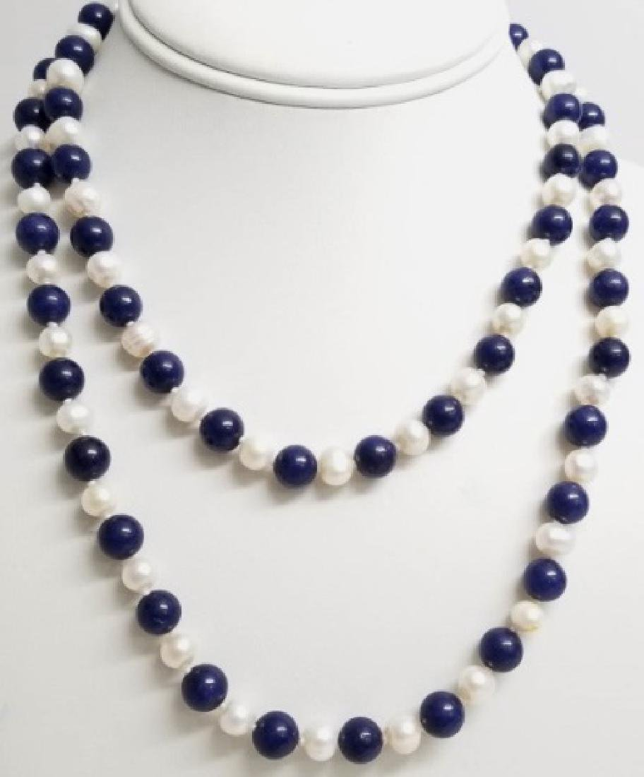 Hand Knotted Baroque Pearl & Lapis Lazuli Necklace