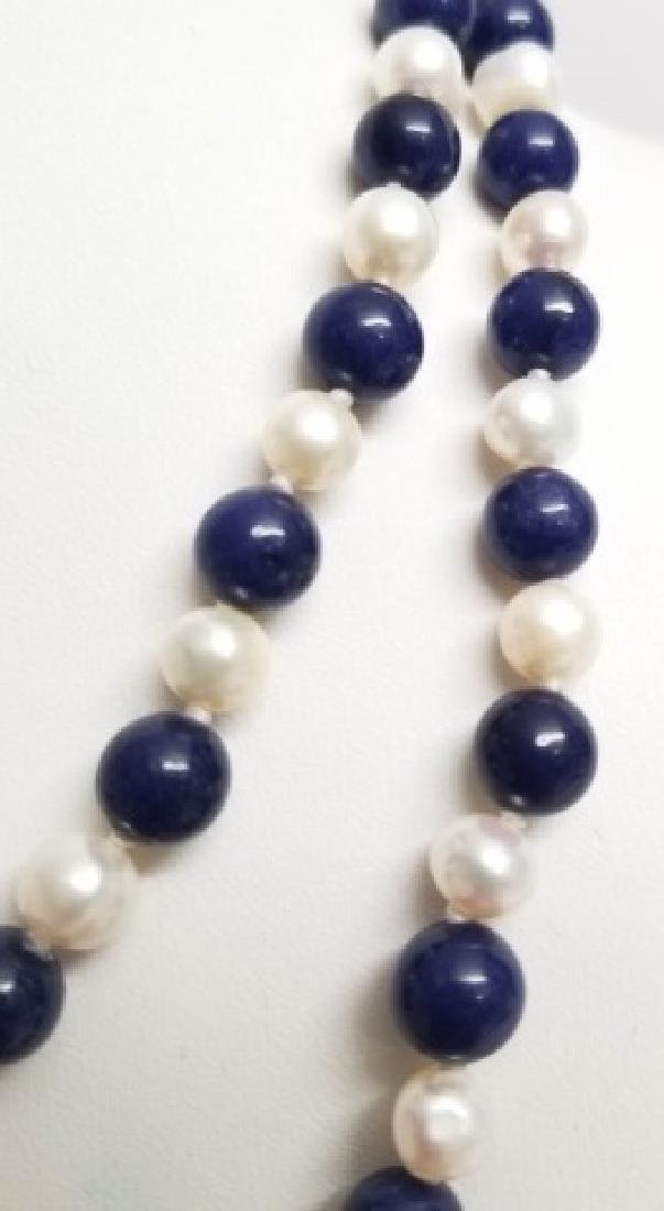 Hand Knotted Baroque Pearl & Lapis Lazuli Necklace - 2