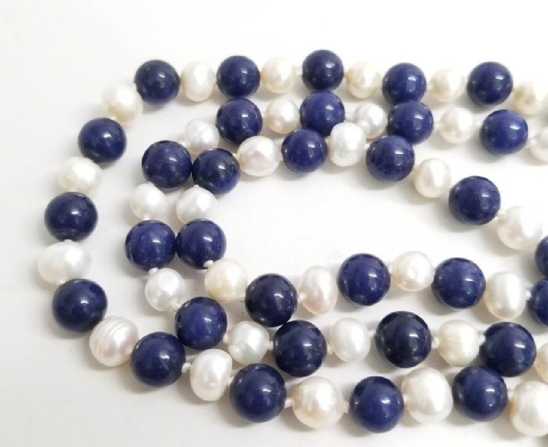 Hand Knotted Baroque Pearl & Lapis Lazuli Necklace - 3