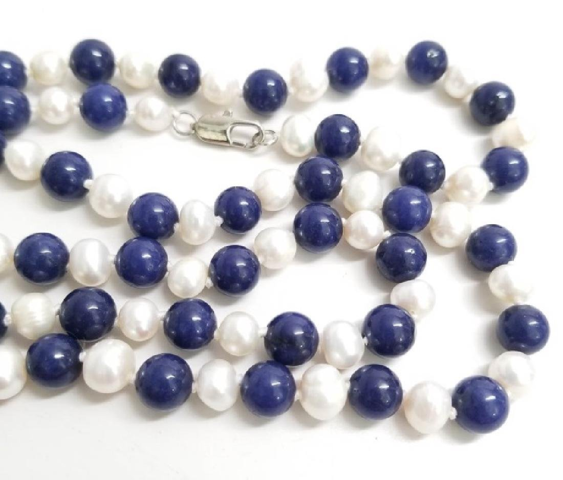 Hand Knotted Baroque Pearl & Lapis Lazuli Necklace - 4