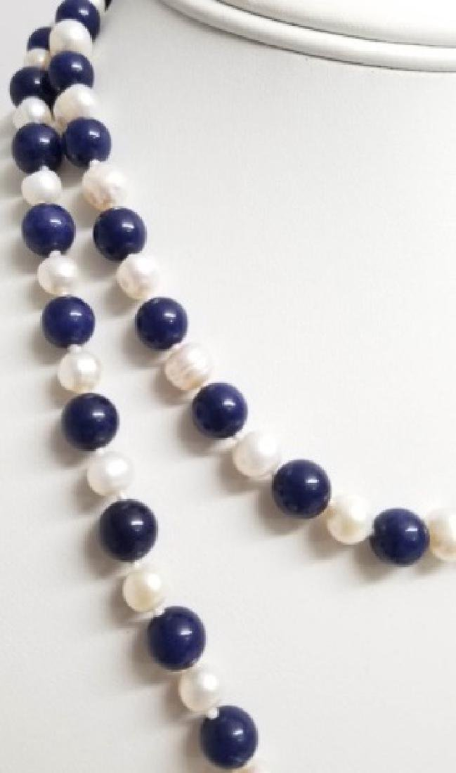 Hand Knotted Baroque Pearl & Lapis Lazuli Necklace - 5