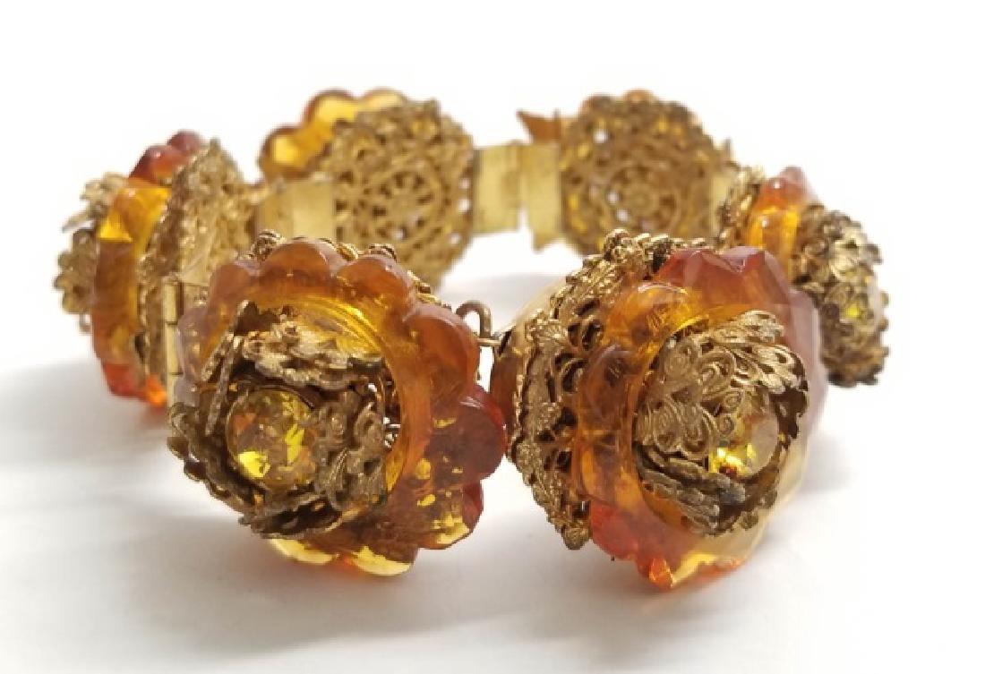 Vintage Estate Miriam Haskell Amber Tone Bracelet