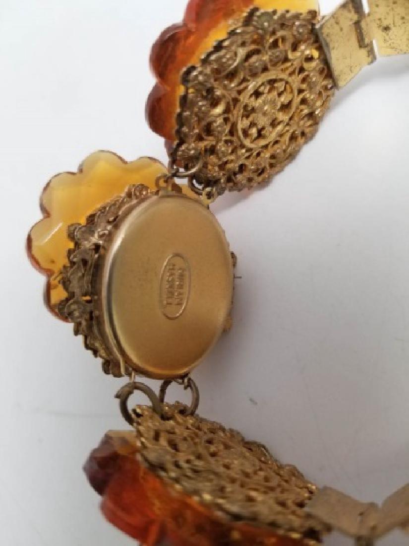 Vintage Estate Miriam Haskell Amber Tone Bracelet - 2