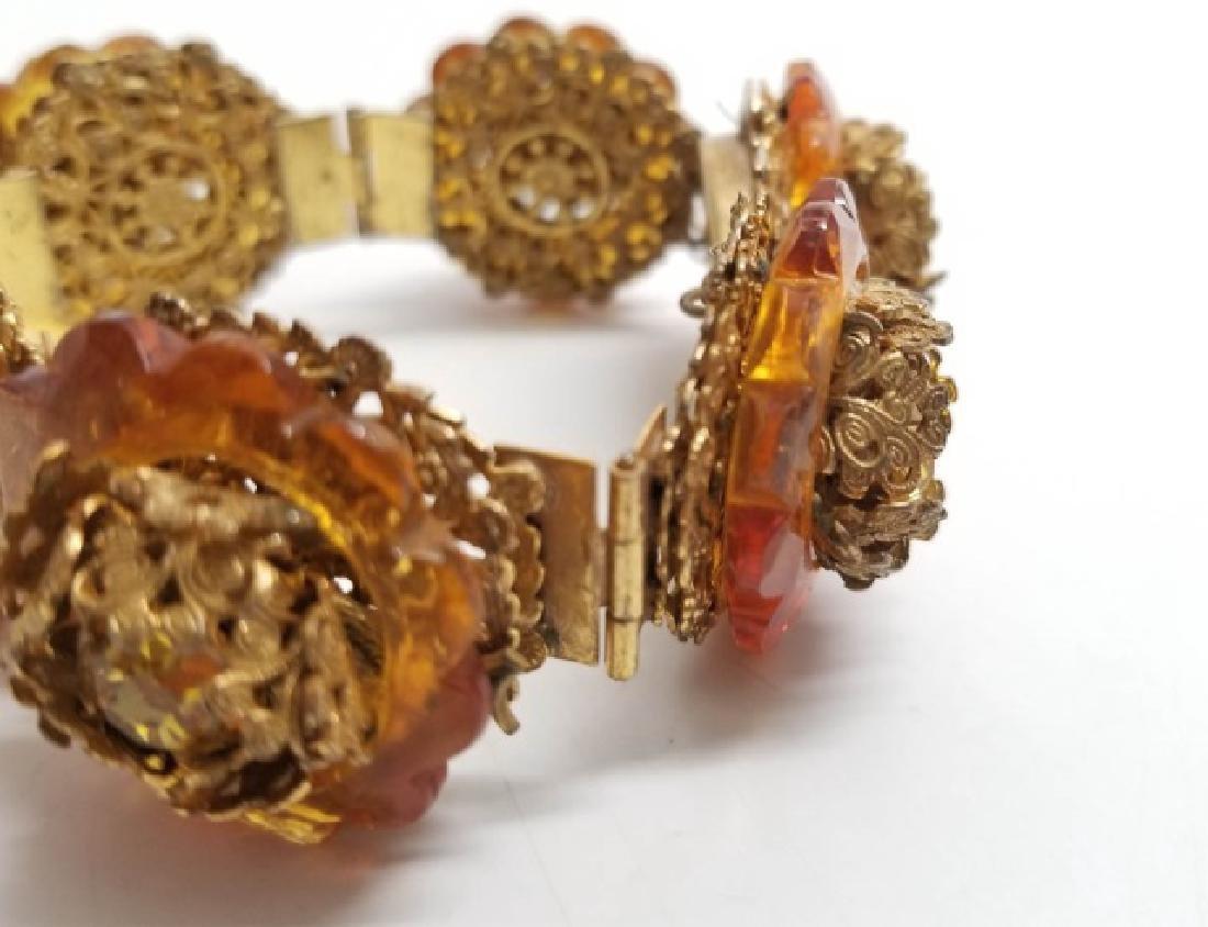 Vintage Estate Miriam Haskell Amber Tone Bracelet - 6