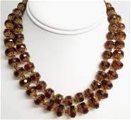 Vintage Estate Miriam Haskell Amber Tone Necklace