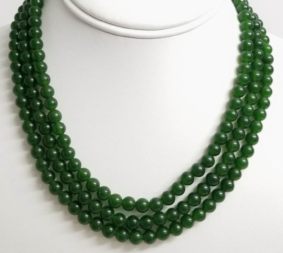Three Chinese Green Jade Necklace Strands