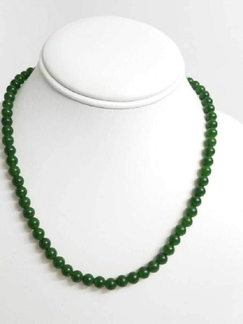 Three Chinese Green Jade Necklace Strands - 3