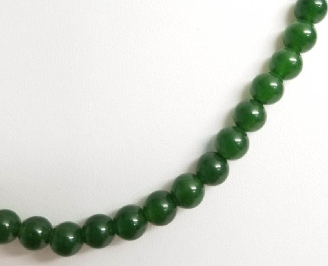 Three Chinese Green Jade Necklace Strands - 4