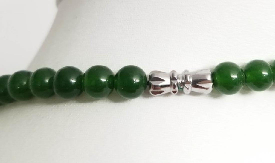 Three Chinese Green Jade Necklace Strands - 6