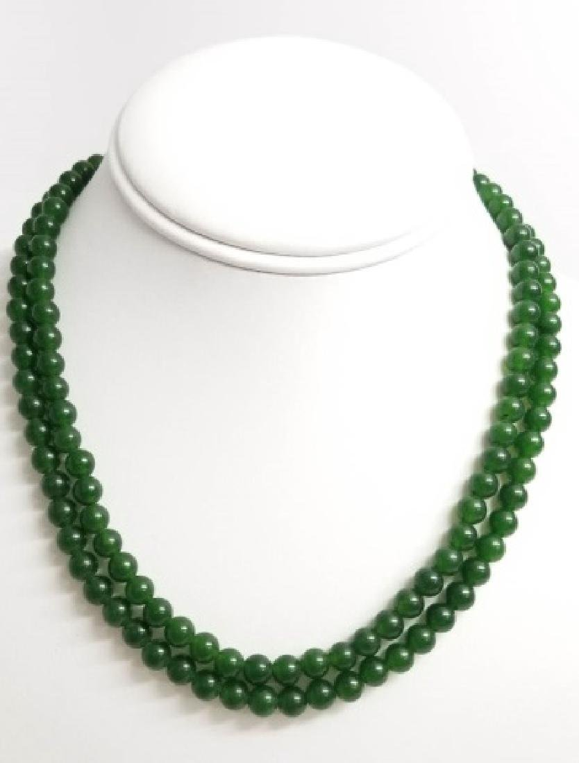 Three Chinese Green Jade Necklace Strands - 7