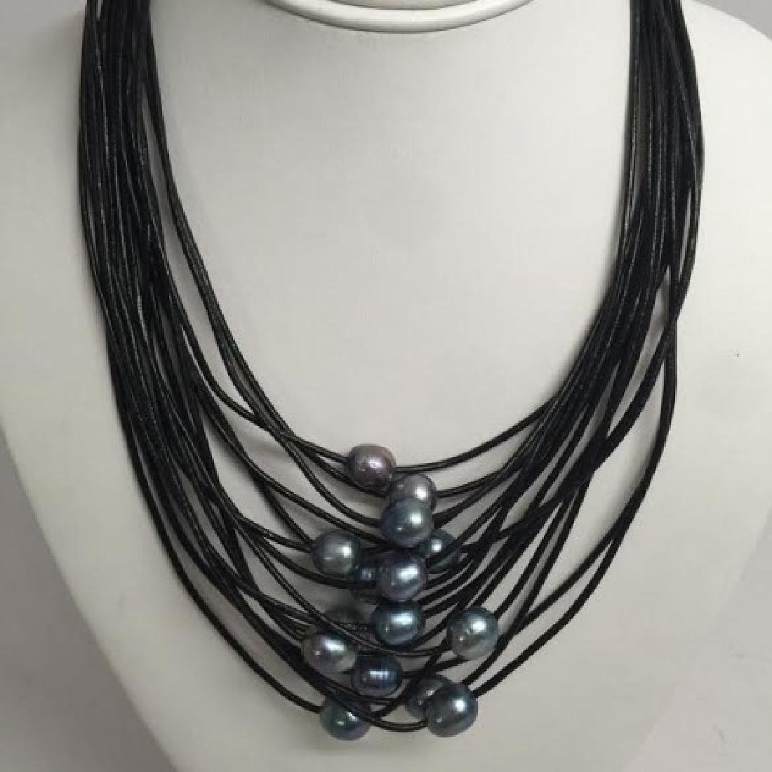 Black Leather & Tahitian Style Pearl Necklace