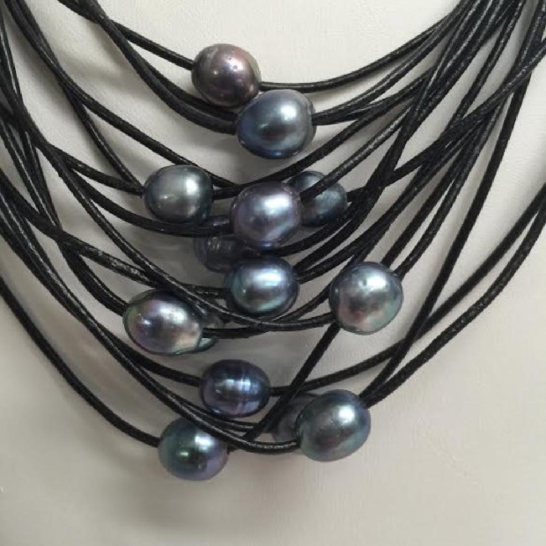 Black Leather & Tahitian Style Pearl Necklace - 4