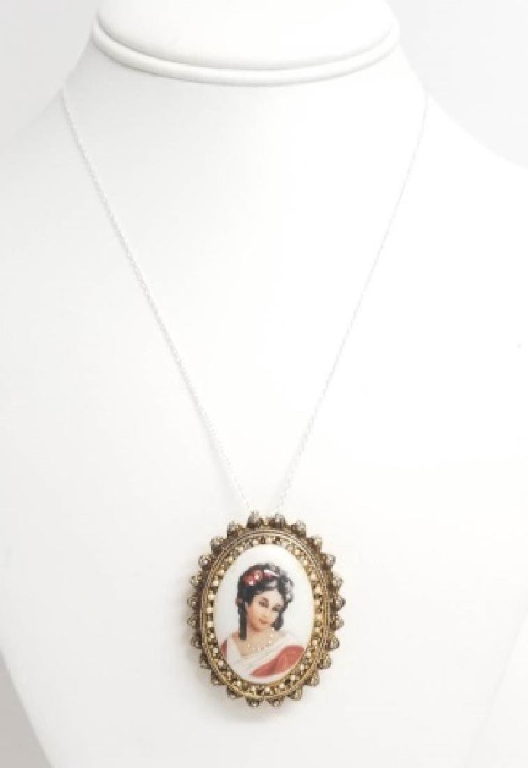 Estate Limoges Porcelain Pendant w Sterling Chain - 2
