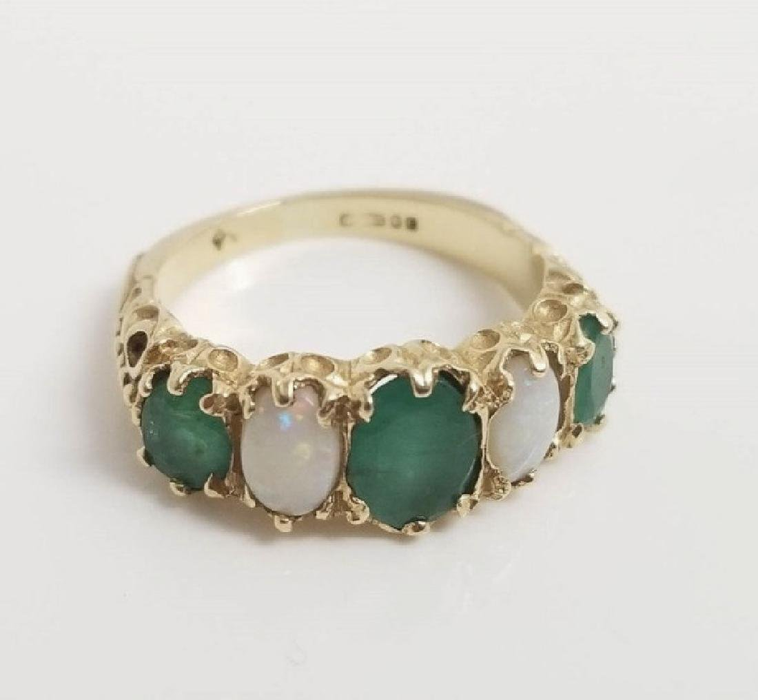Antique English C 1900 14kt Gold Emerald & Opal Ring