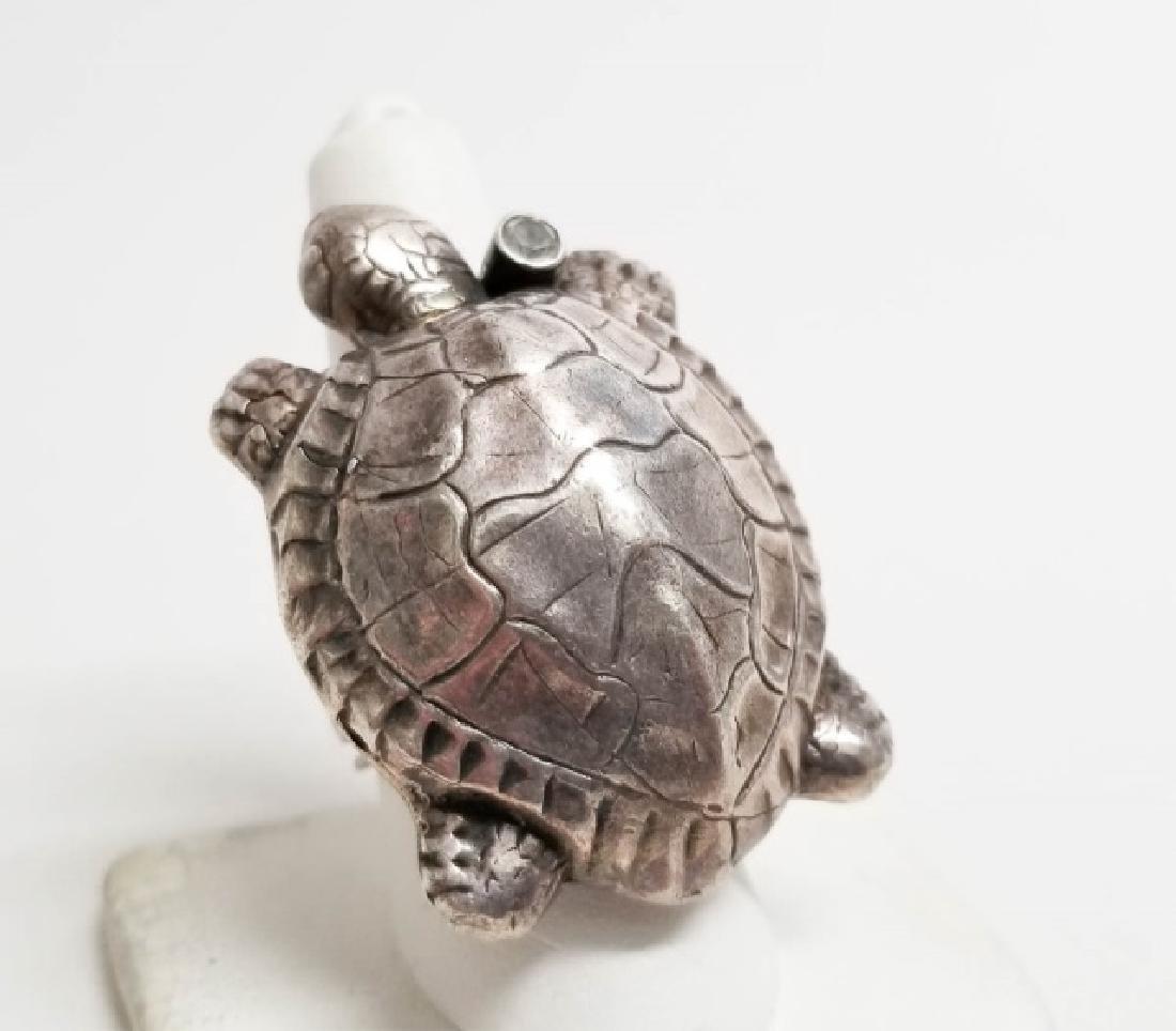 Signed Artisan Sterling & Tourmaline Turtle Ring