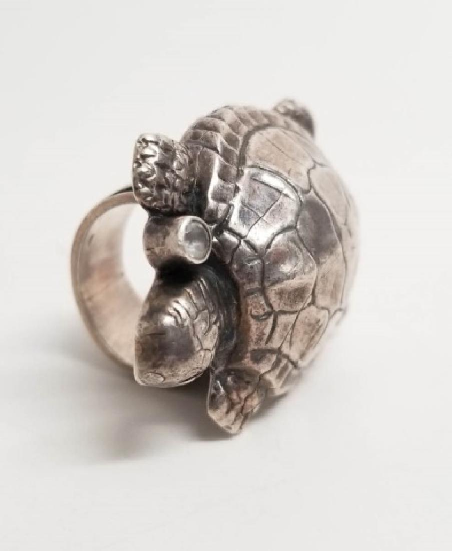 Signed Artisan Sterling & Tourmaline Turtle Ring - 3