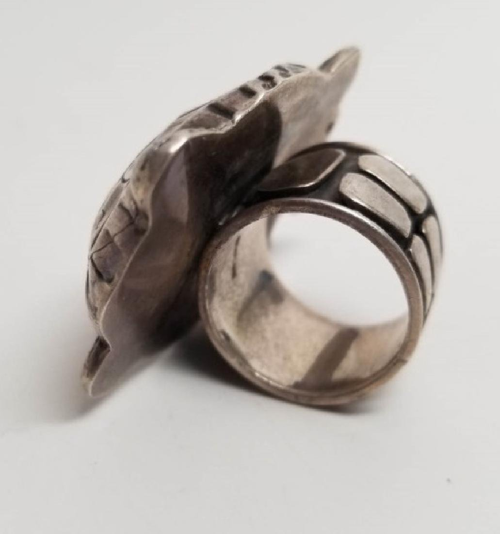 Signed Artisan Sterling & Tourmaline Turtle Ring - 5