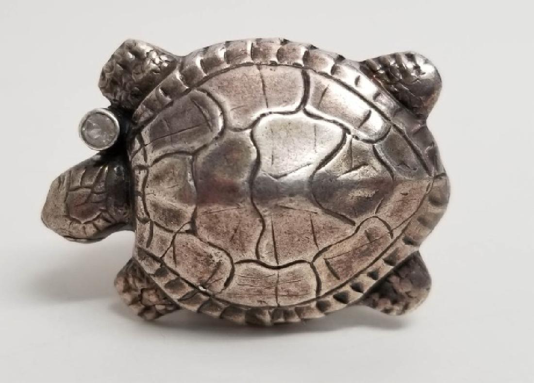Signed Artisan Sterling & Tourmaline Turtle Ring - 7