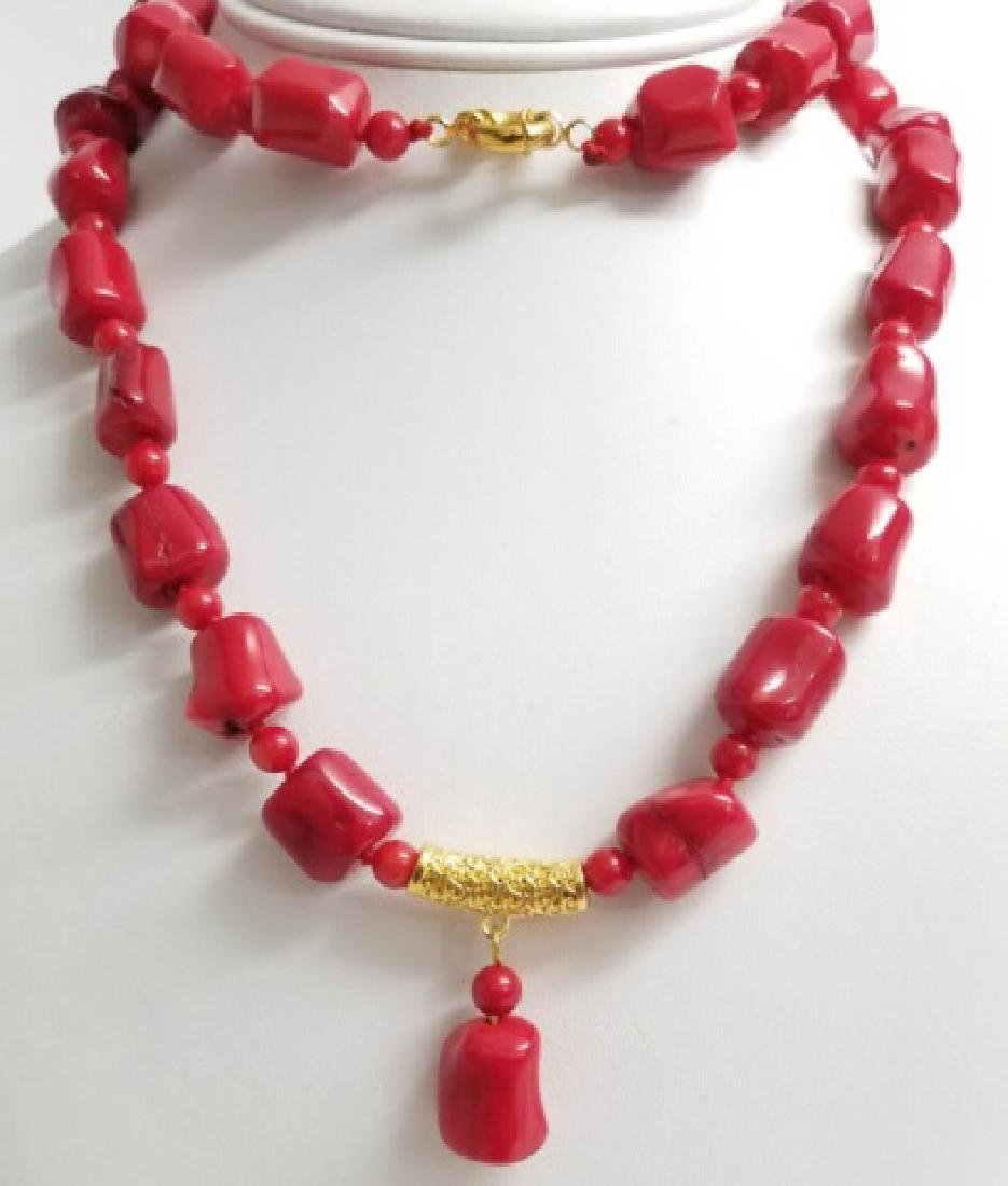 Handmade Carved Red Coral Necklace Strand