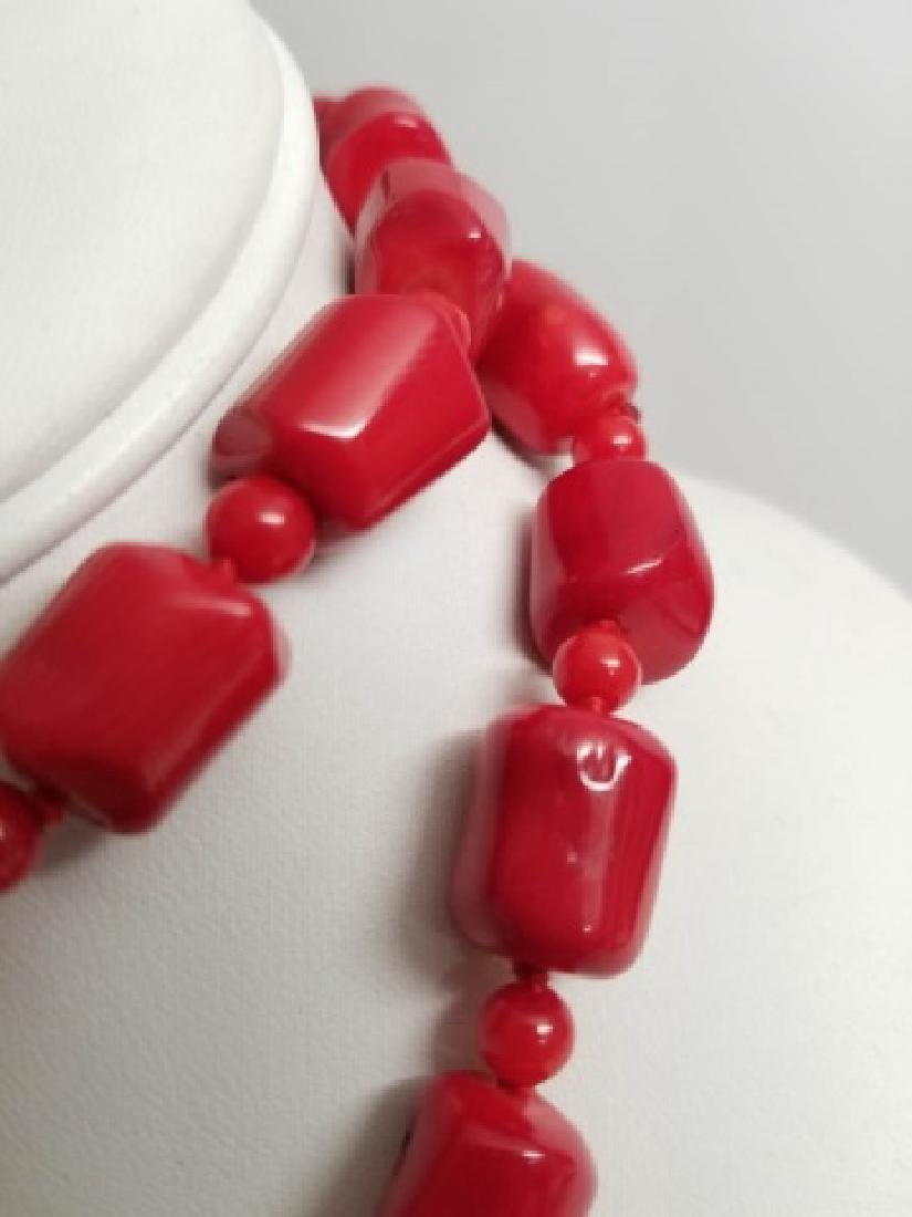 Handmade Carved Red Coral Necklace Strand - 2