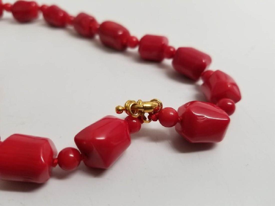 Handmade Carved Red Coral Necklace Strand - 3