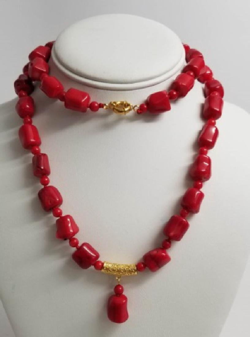 Handmade Carved Red Coral Necklace Strand - 6