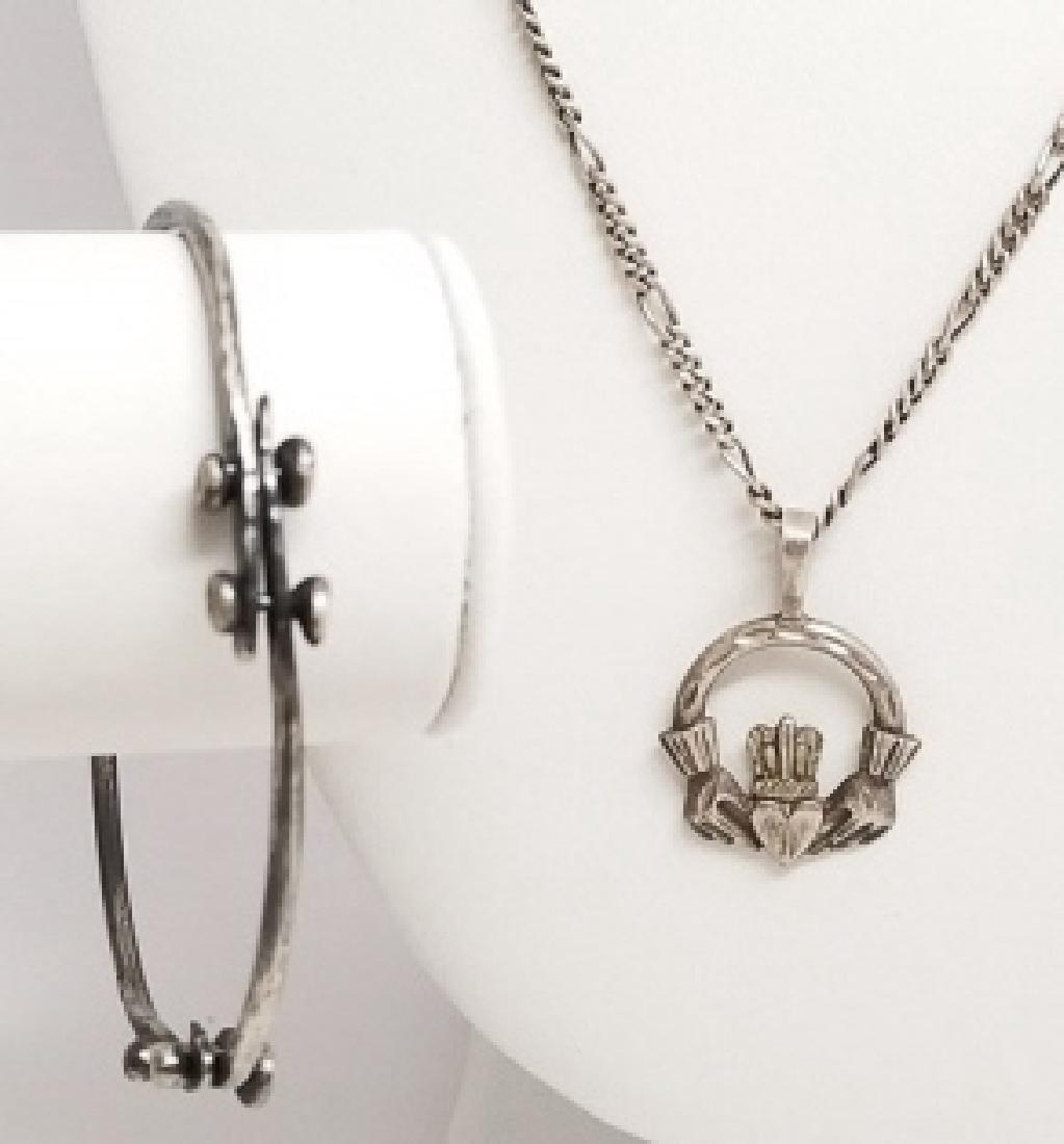 Sterling Handmade Bracelet & Claddagh Necklace