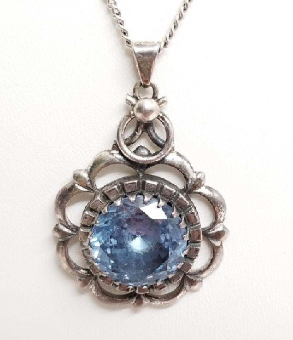 Estate Aquamarine Sterling Silver Necklace Pendant