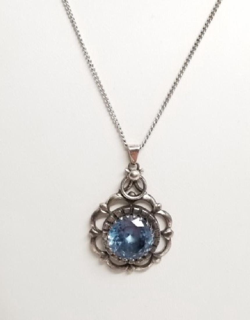 Estate Aquamarine Sterling Silver Necklace Pendant - 2
