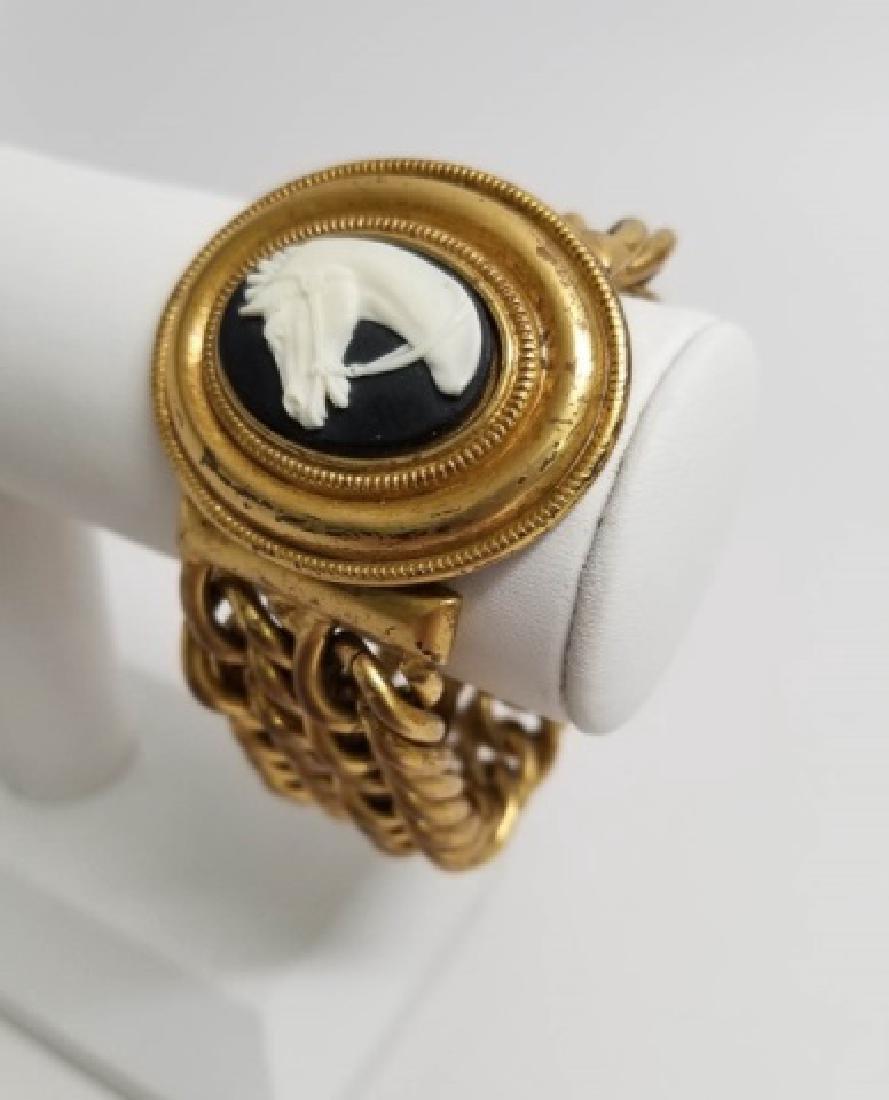 Vintage Estate Statement Bracelet w Horse Cameo