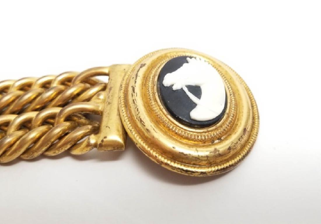 Vintage Estate Statement Bracelet w Horse Cameo - 3