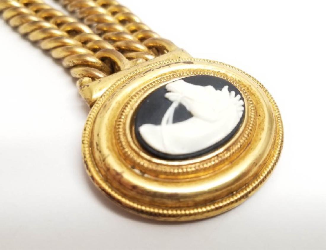 Vintage Estate Statement Bracelet w Horse Cameo - 4