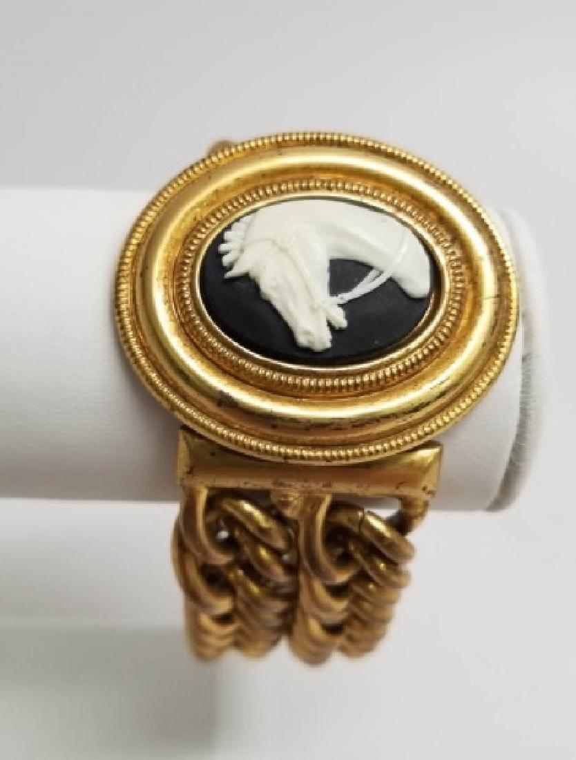 Vintage Estate Statement Bracelet w Horse Cameo - 6