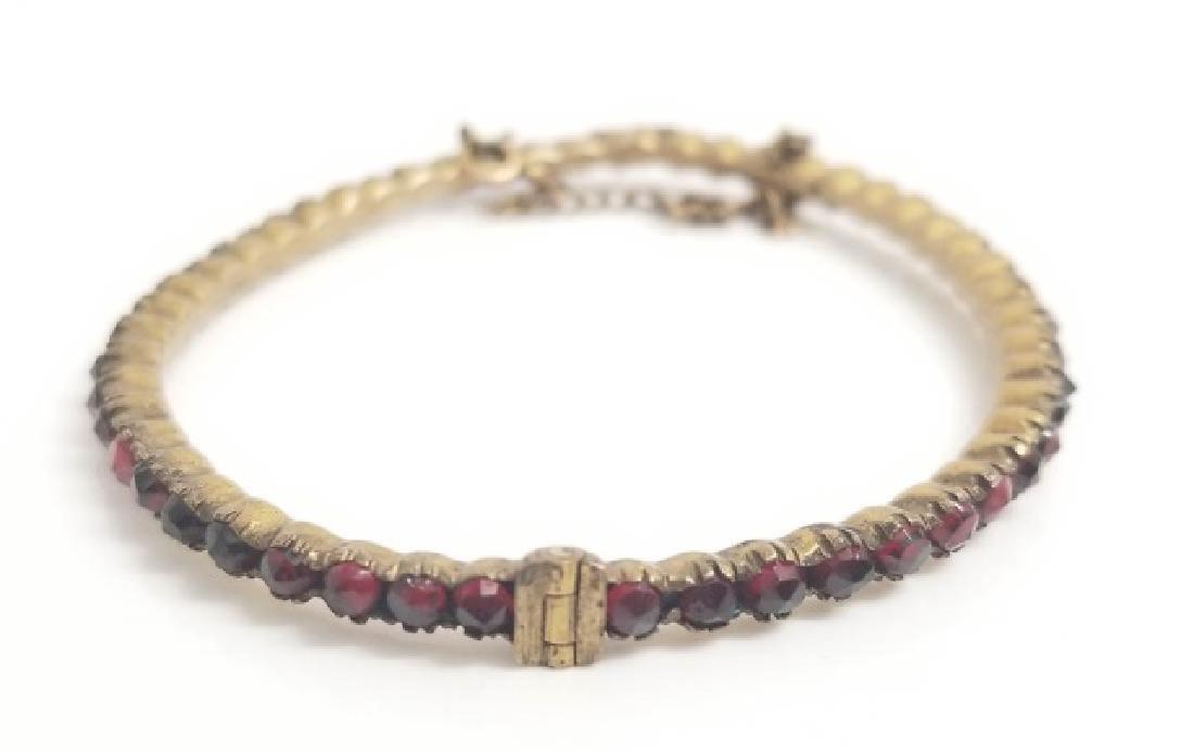 Antique Rose Cut Bohemian Garnet Bangle Bracelet - 5